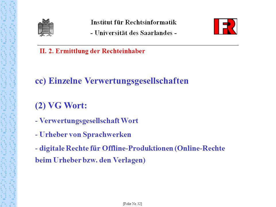 II. 2. Ermittlung der Rechteinhaber [Folie Nr. 32] cc) Einzelne Verwertungsgesellschaften (2) VG Wort: - Verwertungsgesellschaft Wort - Urheber von Sp