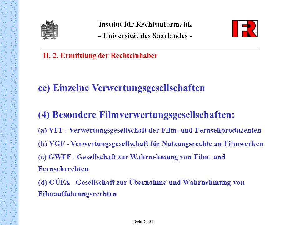 II. 2. Ermittlung der Rechteinhaber [Folie Nr. 34] cc) Einzelne Verwertungsgesellschaften (4) Besondere Filmverwertungsgesellschaften: (a) VFF - Verwe