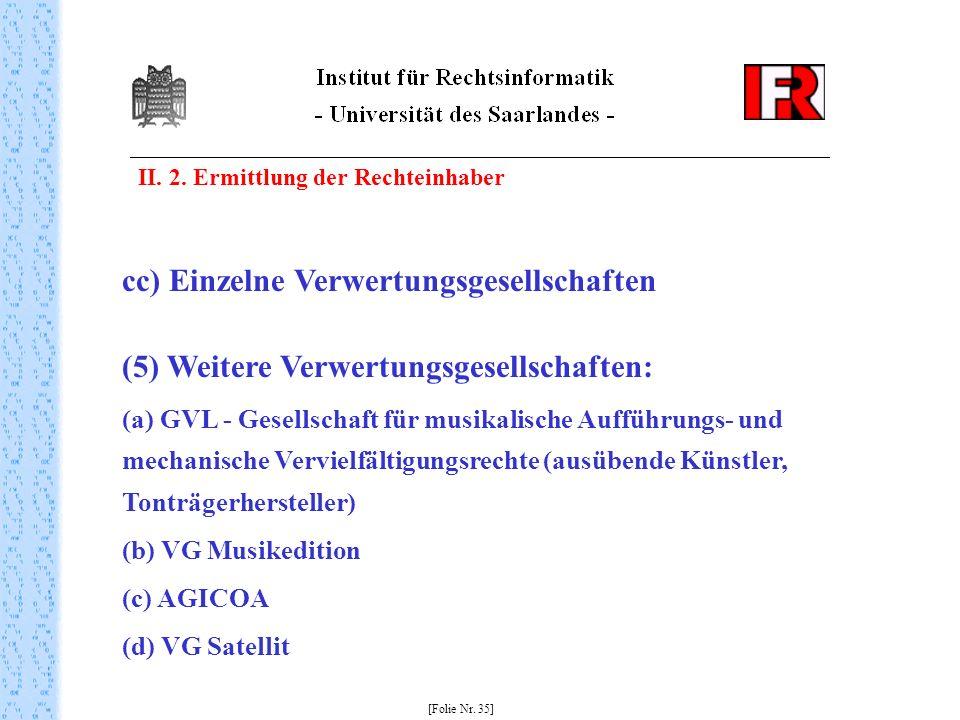 II. 2. Ermittlung der Rechteinhaber [Folie Nr. 35] cc) Einzelne Verwertungsgesellschaften (5) Weitere Verwertungsgesellschaften: (a) GVL - Gesellschaf