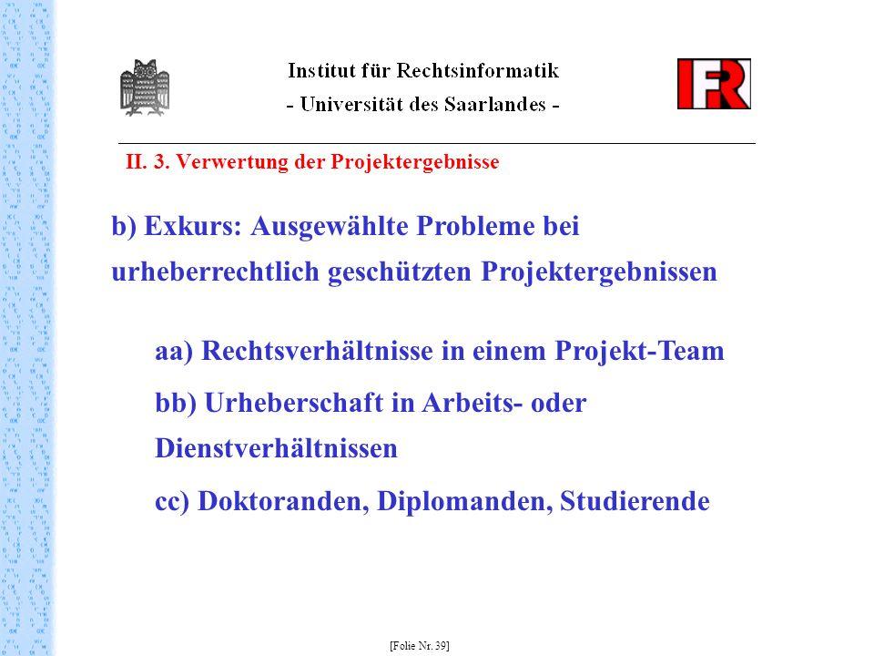 II. 3. Verwertung der Projektergebnisse [Folie Nr. 39] b) Exkurs: Ausgewählte Probleme bei urheberrechtlich geschützten Projektergebnissen aa) Rechtsv