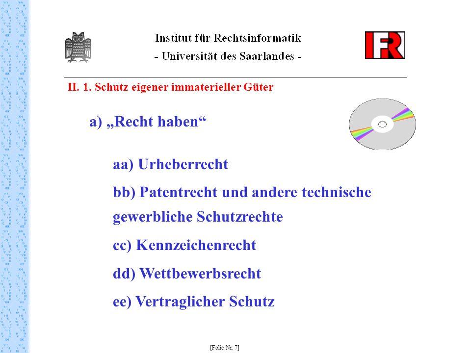II. 1. Schutz eigener immaterieller Güter [Folie Nr. 7] a) Recht haben aa) Urheberrecht bb) Patentrecht und andere technische gewerbliche Schutzrechte