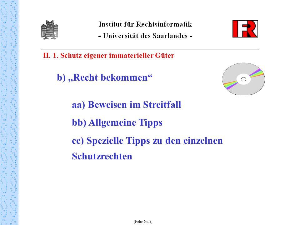 II.1. Schutz eigener immaterieller Güter [Folie Nr.