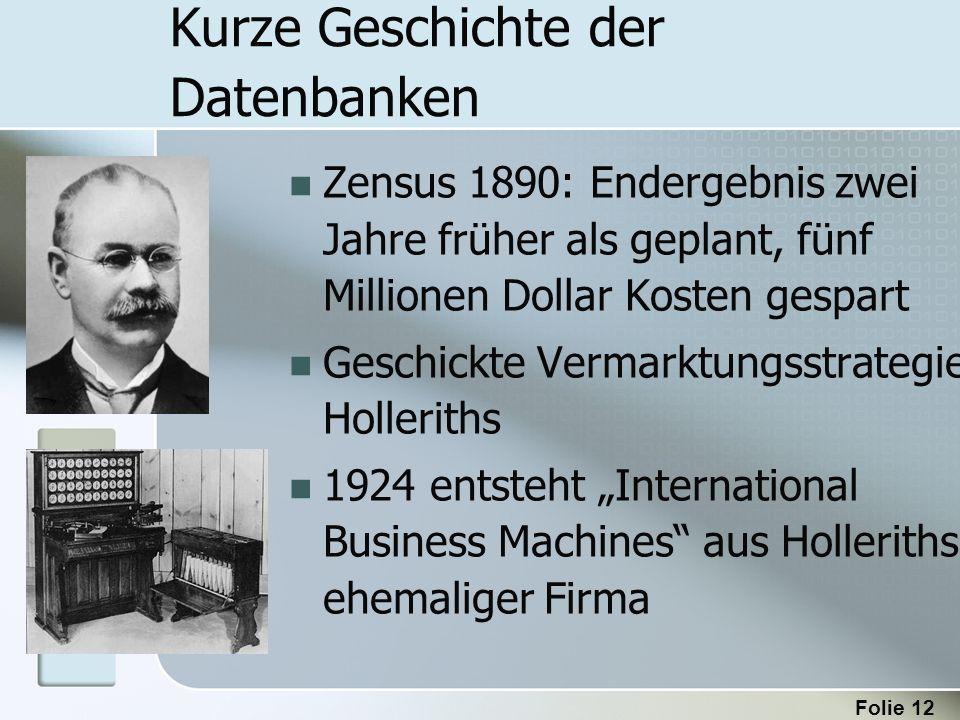Folie 12 Kurze Geschichte der Datenbanken Zensus 1890: Endergebnis zwei Jahre früher als geplant, fünf Millionen Dollar Kosten gespart Geschickte Verm