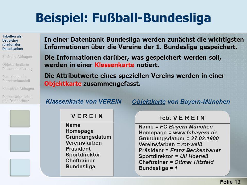 Folie 13 Beispiel: Fußball-Bundesliga fcb: V E R E I N Name = FC Bayern München Homepage = www.fcbayern.de Gründungsdatum = 27.02.1900 Vereinsfarben =