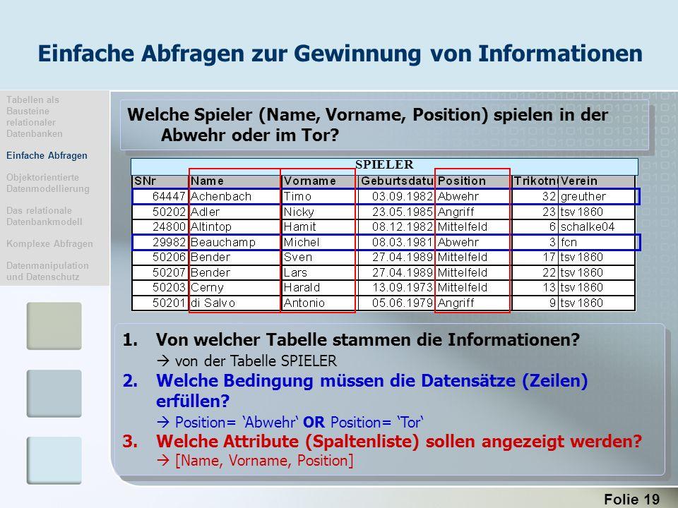 Folie 19 SPIELER 1.Von welcher Tabelle stammen die Informationen? von der Tabelle SPIELER 2.Welche Bedingung müssen die Datensätze (Zeilen) erfüllen?