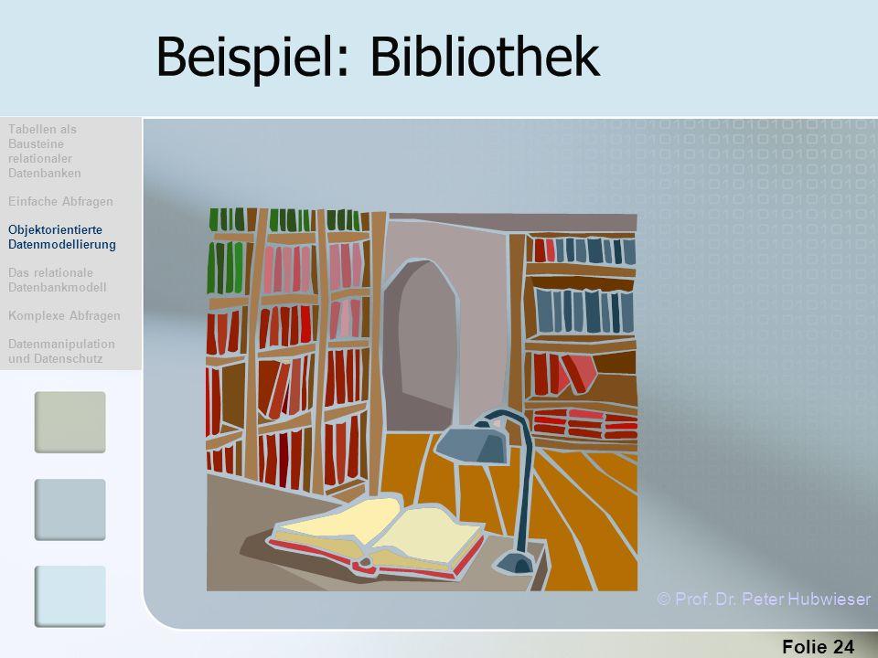 Folie 24 Beispiel: Bibliothek © Prof. Dr. Peter Hubwieser Tabellen als Bausteine relationaler Datenbanken Einfache Abfragen Objektorientierte Datenmod