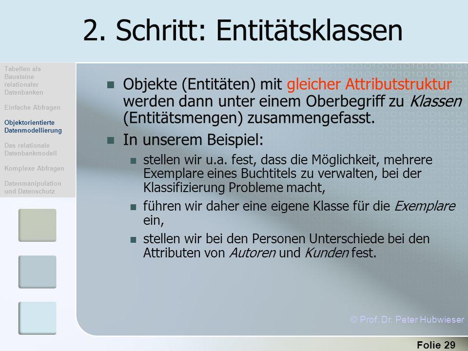 Folie 29 2. Schritt: Entitätsklassen Objekte (Entitäten) mit gleicher Attributstruktur werden dann unter einem Oberbegriff zu Klassen (Entitätsmengen)