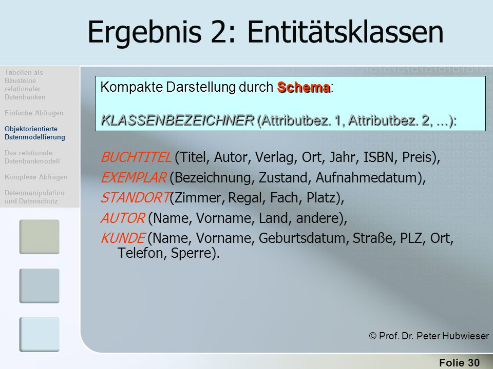 Folie 30 Ergebnis 2: Entitätsklassen BUCHTITEL (Titel, Autor, Verlag, Ort, Jahr, ISBN, Preis), EXEMPLAR (Bezeichnung, Zustand, Aufnahmedatum), STANDOR