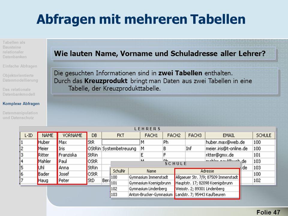 Folie 47 Die gesuchten Informationen sind in zwei Tabellen enthalten. Durch das Kreuzprodukt bringt man Daten aus zwei Tabellen in eine Tabelle, der K