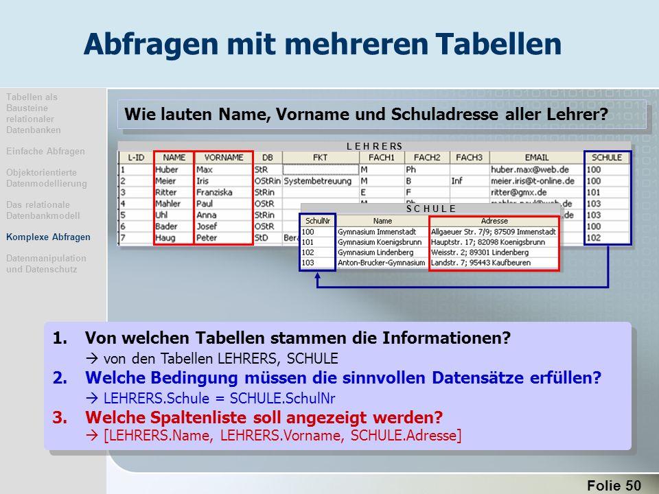 Folie 50 L E H R E RS S C H U L E 1.Von welchen Tabellen stammen die Informationen? von den Tabellen LEHRERS, SCHULE 2.Welche Bedingung müssen die sin