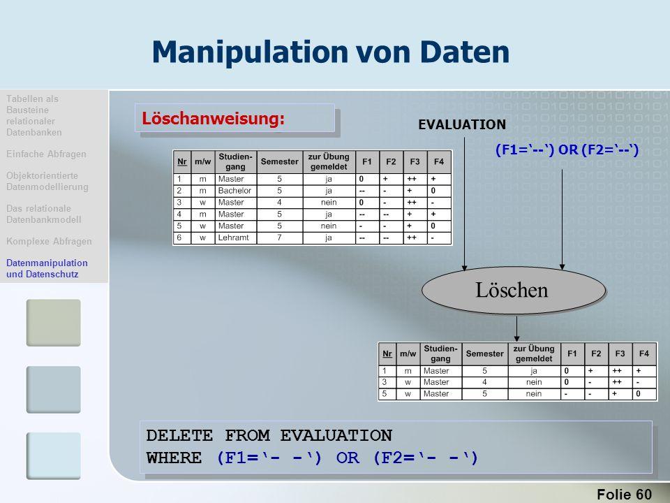 Folie 60 Manipulation von Daten DELETE FROM EVALUATION WHERE (F1=- -) OR (F2=- -) DELETE FROM EVALUATION WHERE (F1=- -) OR (F2=- -) Löschanweisung: Lö