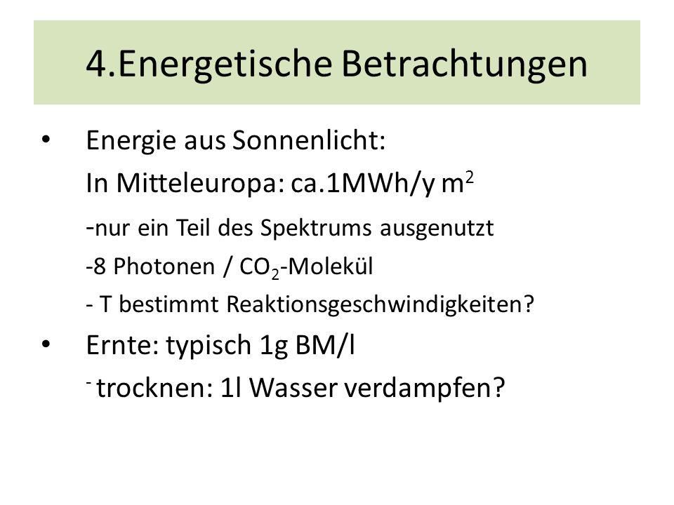 Energiebilanz In der Pflanzenzucht: 1% < η< 6 % Gründe: spektrale Verluste -68 % Reflexion an Blättern -20% Sättigungseffekte-50% Produkt Verluste: 0.12x 0.4=0.05 Ziel: η 20-30% Energiebilanz Photosynthese Summenreaktion: 6CO 2 + 6 H 2 O C 6 H 12 O6 + 6 O 2 pro CO 2 Molekül: 8 Photonen 14.4 eV Bindungsenergie der Einheit CH 2 O : 4.95 eV η = 4.95/ 14.4 = 34%: Literatur über Stoffkreislauf η = 38 %: