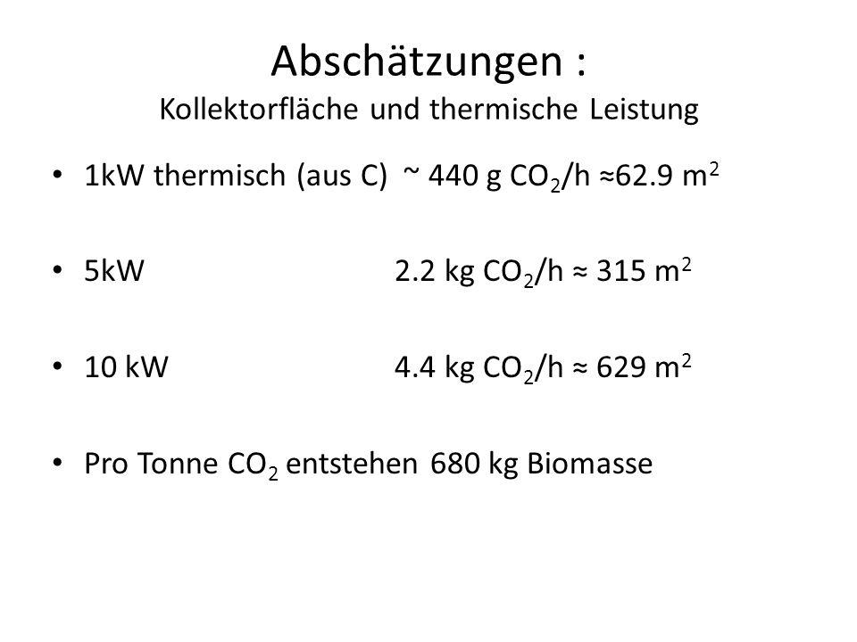 Abschätzungen : Kollektorfläche und thermische Leistung 1kW thermisch (aus C) ~ 440 g CO 2 /h 62.9 m 2 5kW 2.2 kg CO 2 /h 315 m 2 10 kW4.4 kg CO 2 /h 629 m 2 Pro Tonne CO 2 entstehen 680 kg Biomasse
