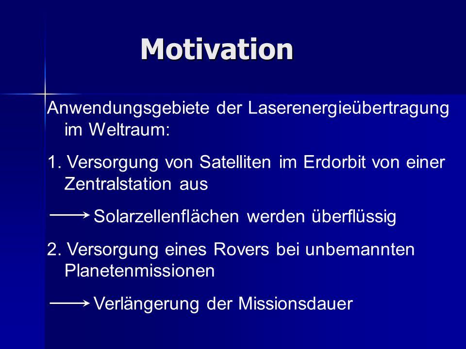 Motivation Anwendungsgebiete der Laserenergieübertragung im Weltraum: 1. Versorgung von Satelliten im Erdorbit von einer Zentralstation aus Solarzelle