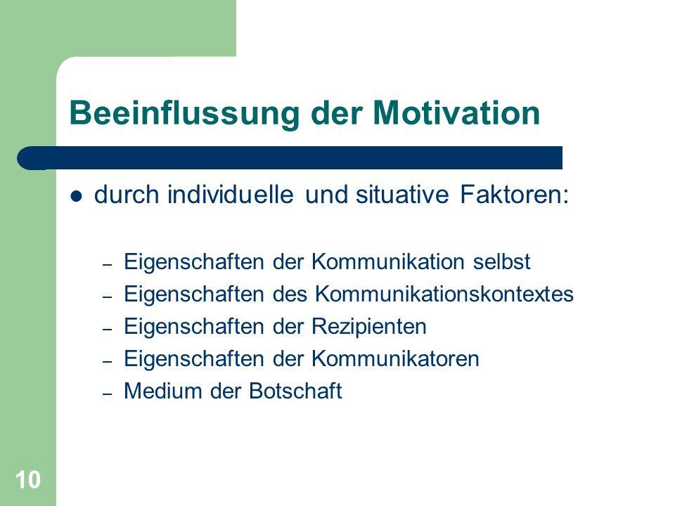 10 Beeinflussung der Motivation durch individuelle und situative Faktoren: – Eigenschaften der Kommunikation selbst – Eigenschaften des Kommunikations