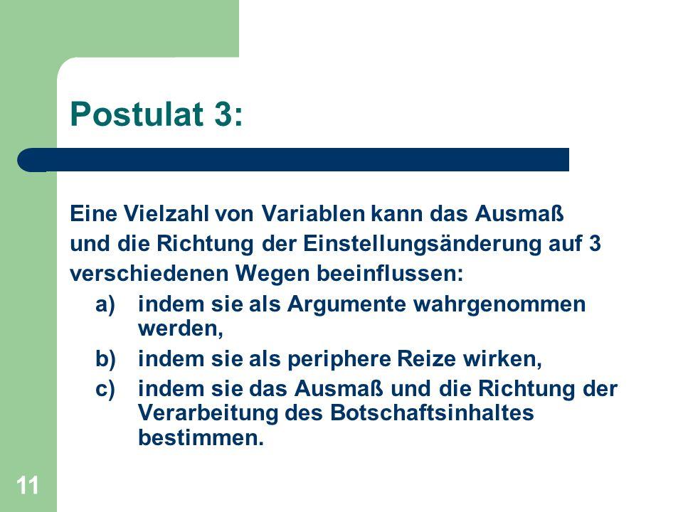 11 Postulat 3: Eine Vielzahl von Variablen kann das Ausmaß und die Richtung der Einstellungsänderung auf 3 verschiedenen Wegen beeinflussen: a) indem