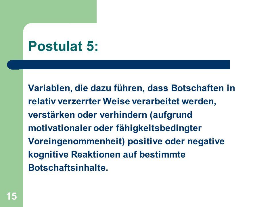 15 Postulat 5: Variablen, die dazu führen, dass Botschaften in relativ verzerrter Weise verarbeitet werden, verstärken oder verhindern (aufgrund motiv