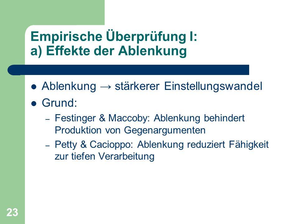 23 Empirische Überprüfung I: a) Effekte der Ablenkung Ablenkung stärkerer Einstellungswandel Grund: – Festinger & Maccoby: Ablenkung behindert Produkt