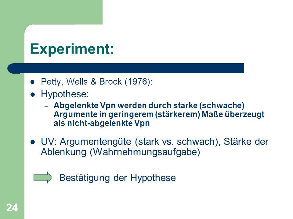 24 Experiment: Petty, Wells & Brock (1976): Hypothese: – Abgelenkte Vpn werden durch starke (schwache) Argumente in geringerem (stärkerem) Maße überze