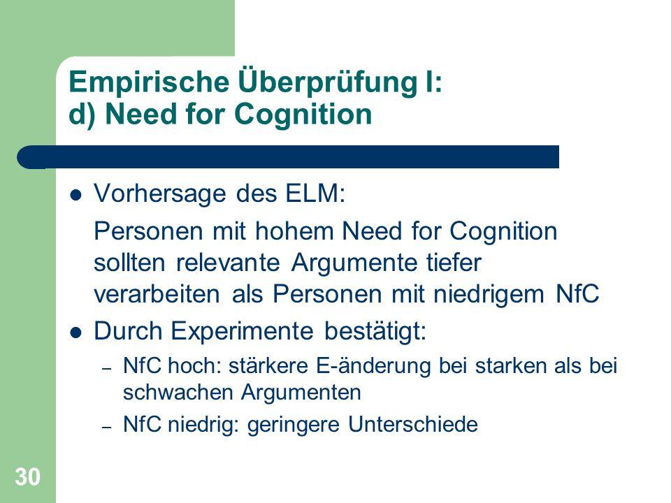 30 Empirische Überprüfung I: d) Need for Cognition Vorhersage des ELM: Personen mit hohem Need for Cognition sollten relevante Argumente tiefer verarb