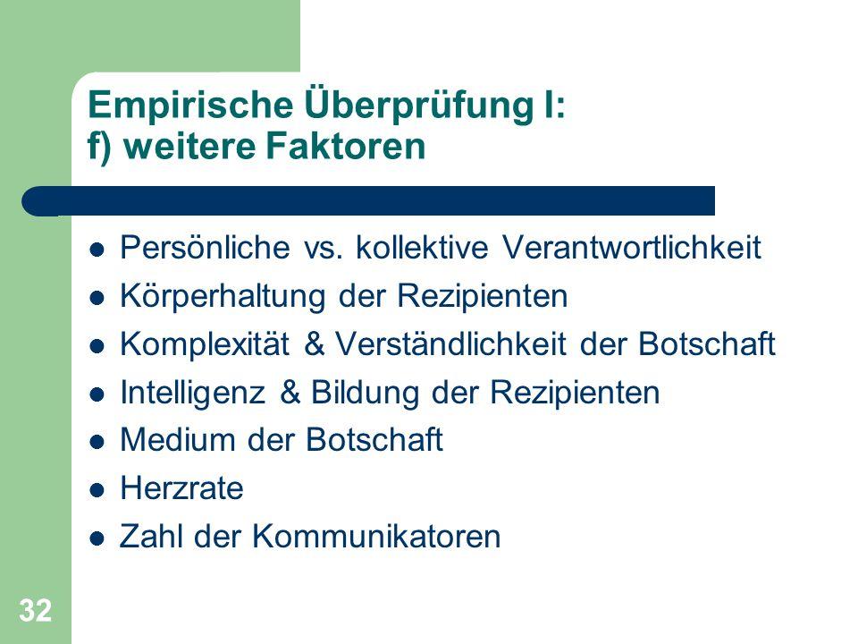 32 Empirische Überprüfung I: f) weitere Faktoren Persönliche vs. kollektive Verantwortlichkeit Körperhaltung der Rezipienten Komplexität & Verständlic