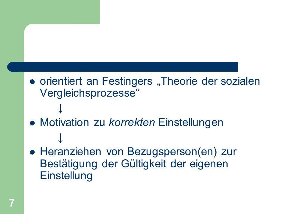 7 orientiert an Festingers Theorie der sozialen Vergleichsprozesse Motivation zu korrekten Einstellungen Heranziehen von Bezugsperson(en) zur Bestätig