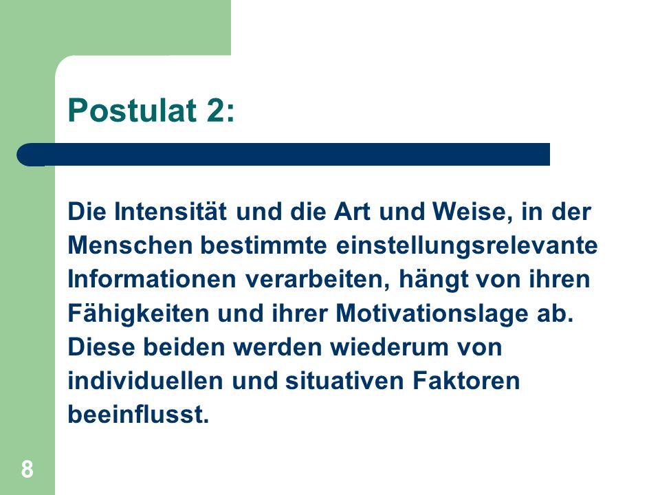 8 Postulat 2: Die Intensität und die Art und Weise, in der Menschen bestimmte einstellungsrelevante Informationen verarbeiten, hängt von ihren Fähigke