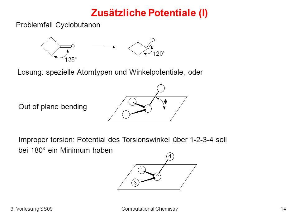 3. Vorlesung SS09Computational Chemistry14 Zusätzliche Potentiale (I) Problemfall Cyclobutanon Out of plane bending Improper torsion: Potential des To