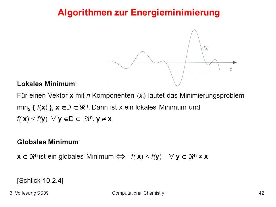 3.Vorlesung SS09Computational Chemistry43 Methode, die nur die Energiewerte verwendet...
