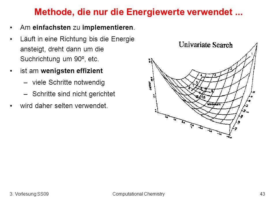 3. Vorlesung SS09Computational Chemistry43 Methode, die nur die Energiewerte verwendet... Am einfachsten zu implementieren. Läuft in eine Richtung bis
