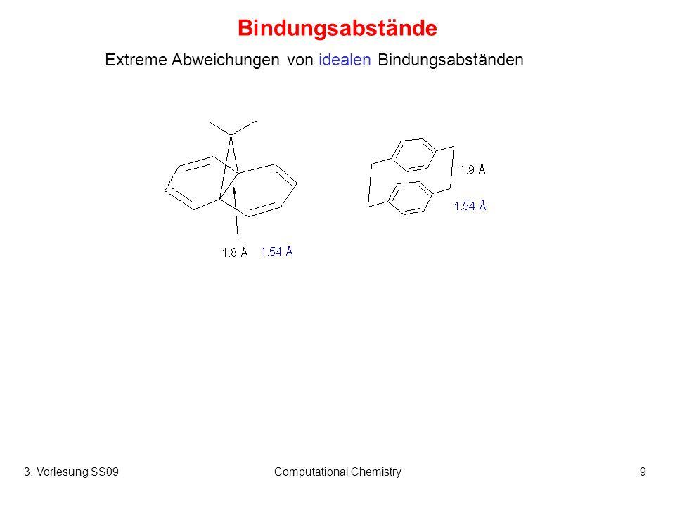 3. Vorlesung SS09Computational Chemistry9 Bindungsabstände Extreme Abweichungen von idealen Bindungsabständen