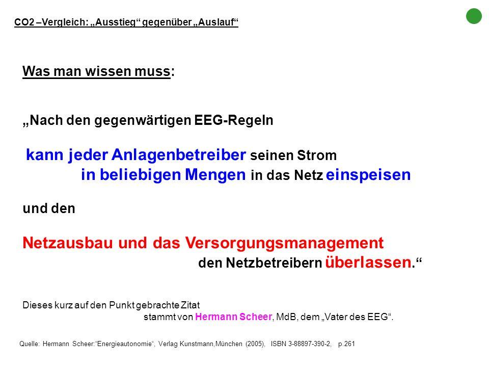 Was man wissen muss: Nach den gegenwärtigen EEG-Regeln kann jeder Anlagenbetreiber seinen Strom in beliebigen Mengen in das Netz einspeisen und den Ne