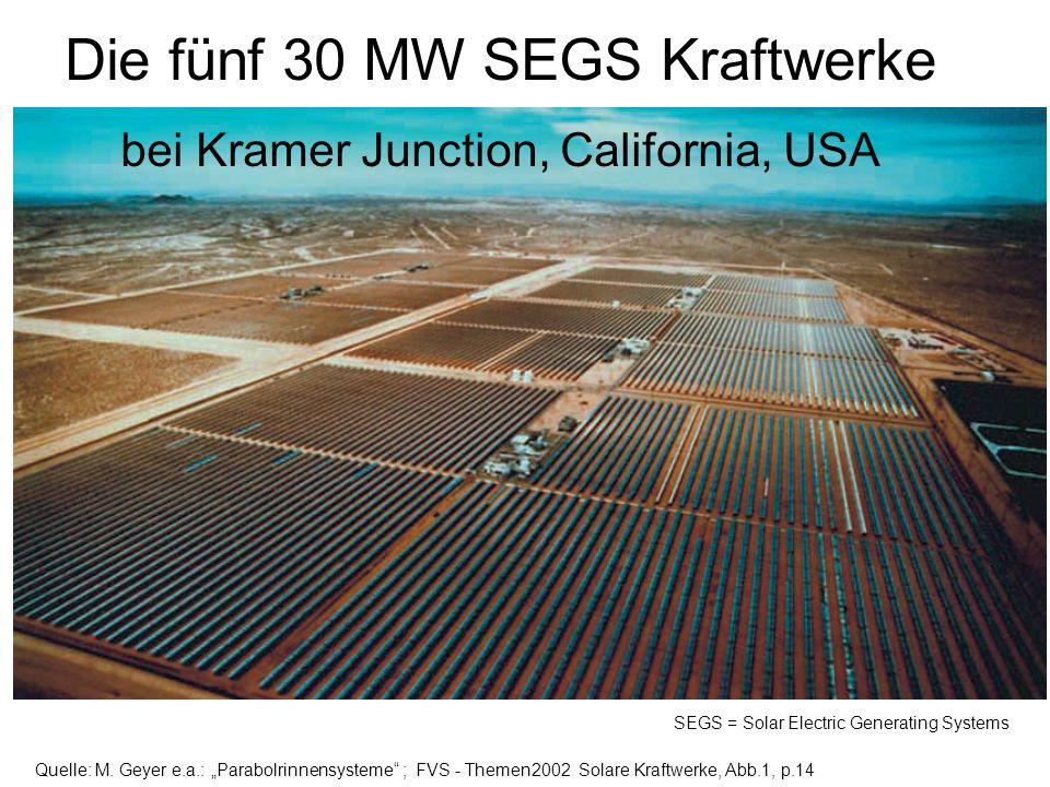 Die fünf 30 MW SEGS Kraftwerke bei Kramer Junction, California, USA SEGS = Solar Electric Generating Systems Quelle: M. Geyer e.a.: Parabolrinnensyste