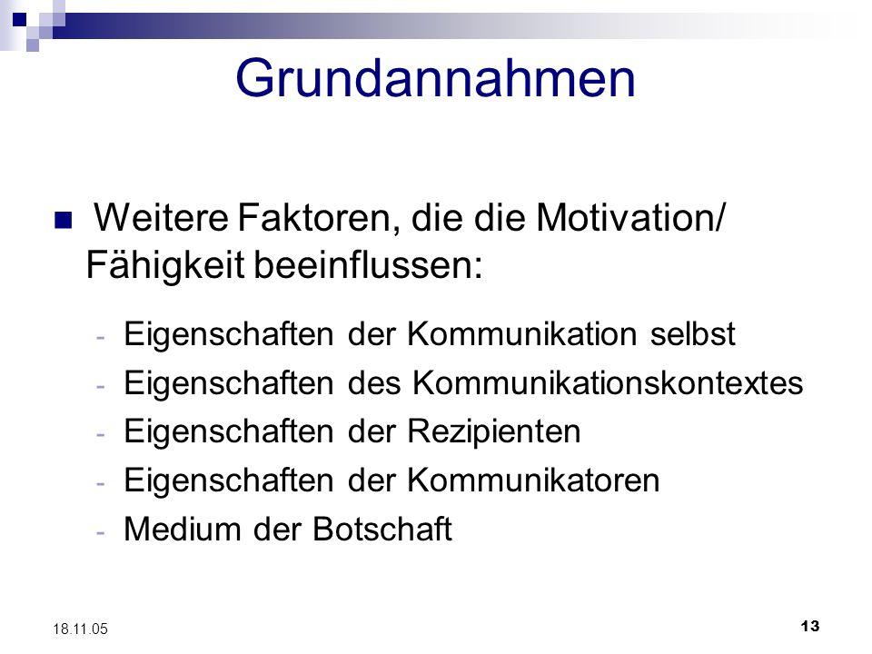 13 18.11.05 Grundannahmen Weitere Faktoren, die die Motivation/ Fähigkeit beeinflussen: - Eigenschaften der Kommunikation selbst - Eigenschaften des K