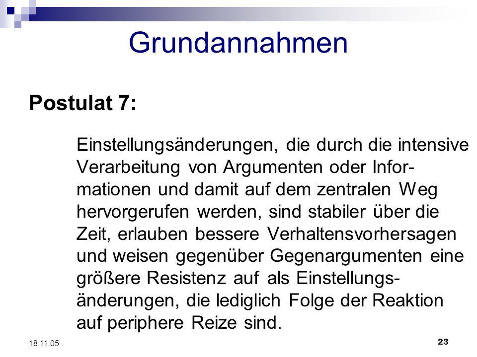 23 18.11.05 Grundannahmen Postulat 7: Einstellungsänderungen, die durch die intensive Verarbeitung von Argumenten oder Infor- mationen und damit auf d