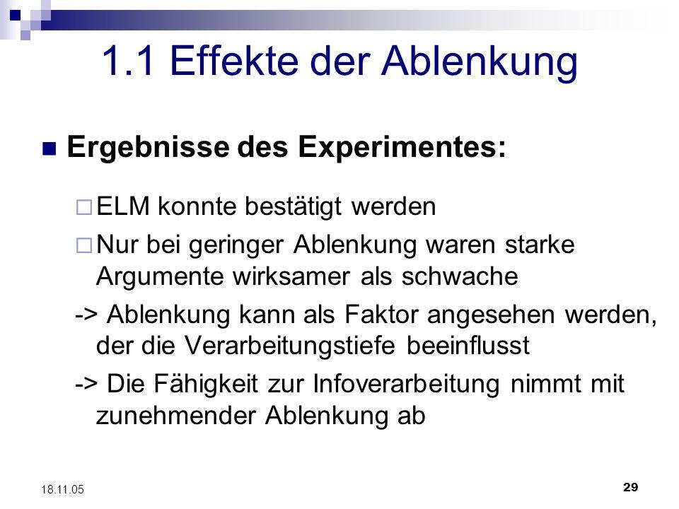 29 18.11.05 1.1 Effekte der Ablenkung Ergebnisse des Experimentes: ELM konnte bestätigt werden Nur bei geringer Ablenkung waren starke Argumente wirks