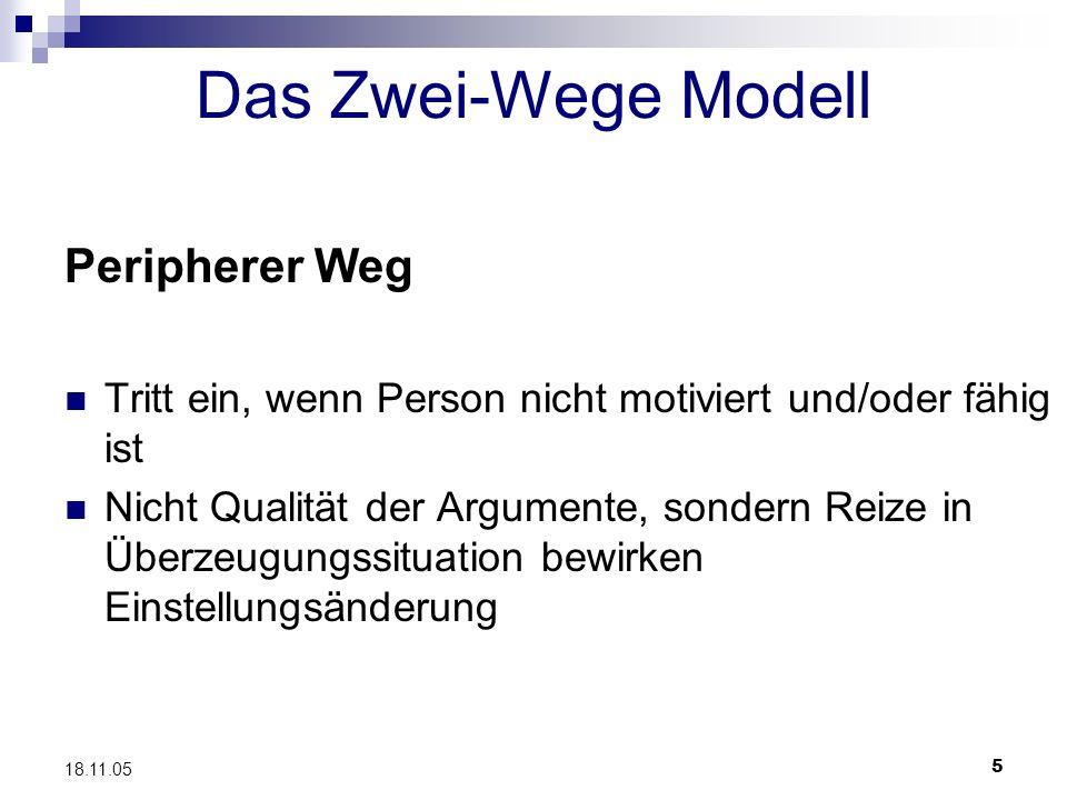 5 18.11.05 Das Zwei-Wege Modell Peripherer Weg Tritt ein, wenn Person nicht motiviert und/oder fähig ist Nicht Qualität der Argumente, sondern Reize i