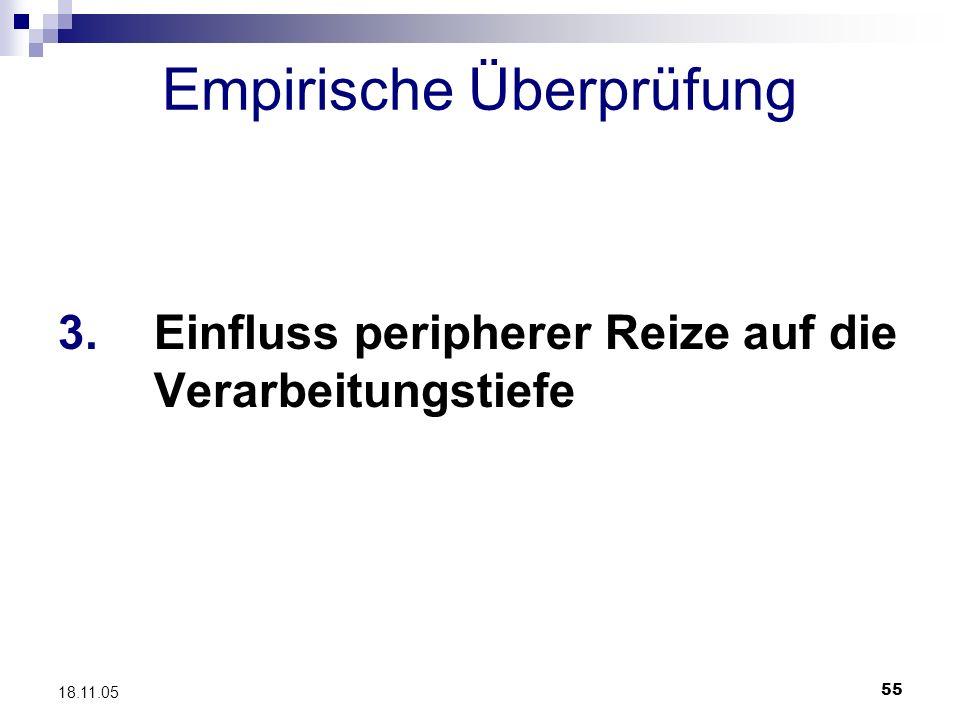 55 18.11.05 Empirische Überprüfung 3. Einfluss peripherer Reize auf die Verarbeitungstiefe
