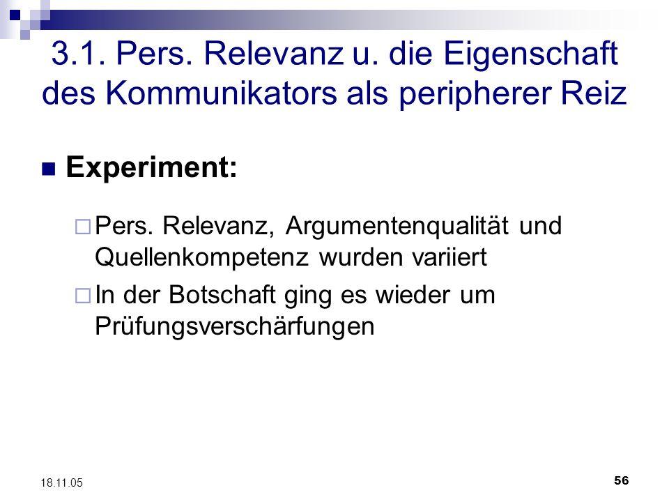 56 18.11.05 3.1. Pers. Relevanz u. die Eigenschaft des Kommunikators als peripherer Reiz Experiment: Pers. Relevanz, Argumentenqualität und Quellenkom
