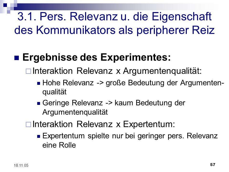 57 18.11.05 3.1. Pers. Relevanz u. die Eigenschaft des Kommunikators als peripherer Reiz Ergebnisse des Experimentes: Interaktion Relevanz x Argumente