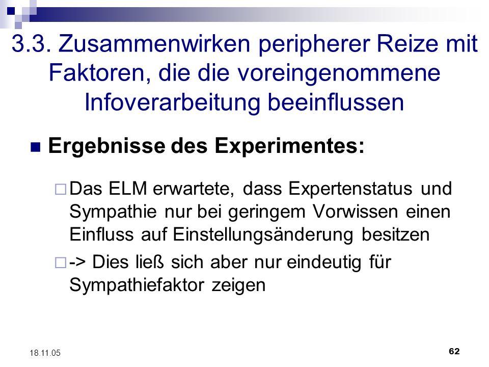 62 18.11.05 3.3. Zusammenwirken peripherer Reize mit Faktoren, die die voreingenommene Infoverarbeitung beeinflussen Ergebnisse des Experimentes: Das