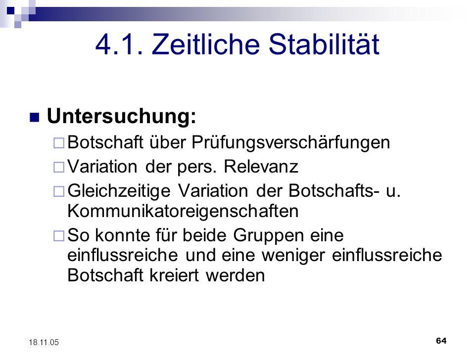 64 18.11.05 4.1. Zeitliche Stabilität Untersuchung: Botschaft über Prüfungsverschärfungen Variation der pers. Relevanz Gleichzeitige Variation der Bot