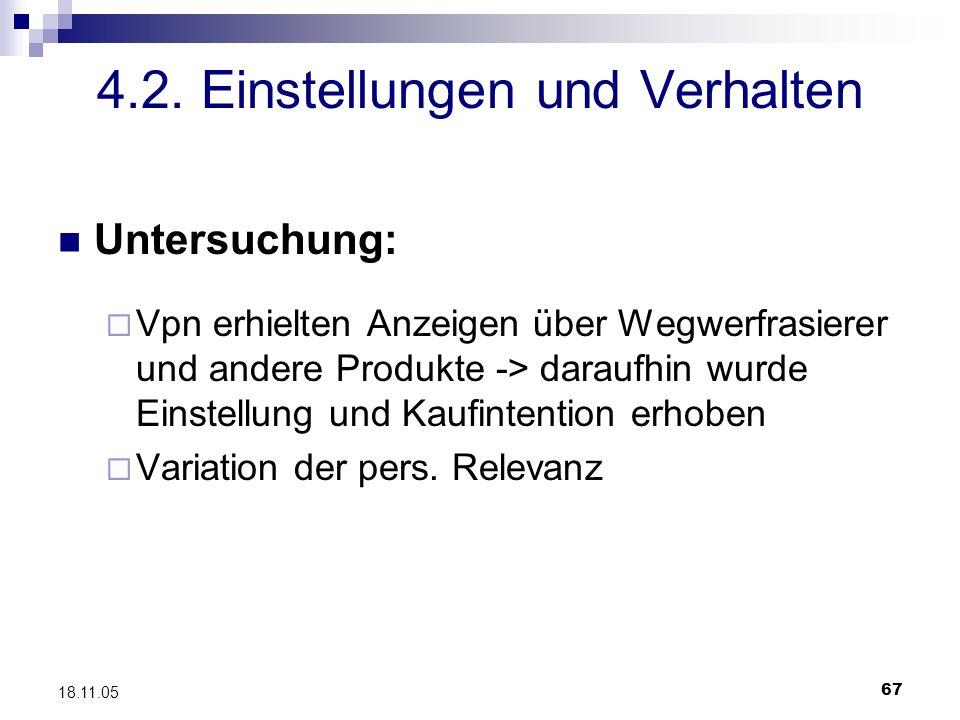 67 18.11.05 4.2. Einstellungen und Verhalten Untersuchung: Vpn erhielten Anzeigen über Wegwerfrasierer und andere Produkte -> daraufhin wurde Einstell