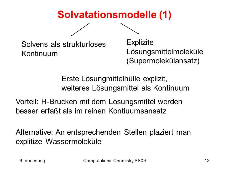 9. VorlesungComputational Chemistry SS0913 Solvatationsmodelle (1) Solvens als strukturloses Kontinuum Erste Lösungmittelhülle explizit, weiteres Lösu