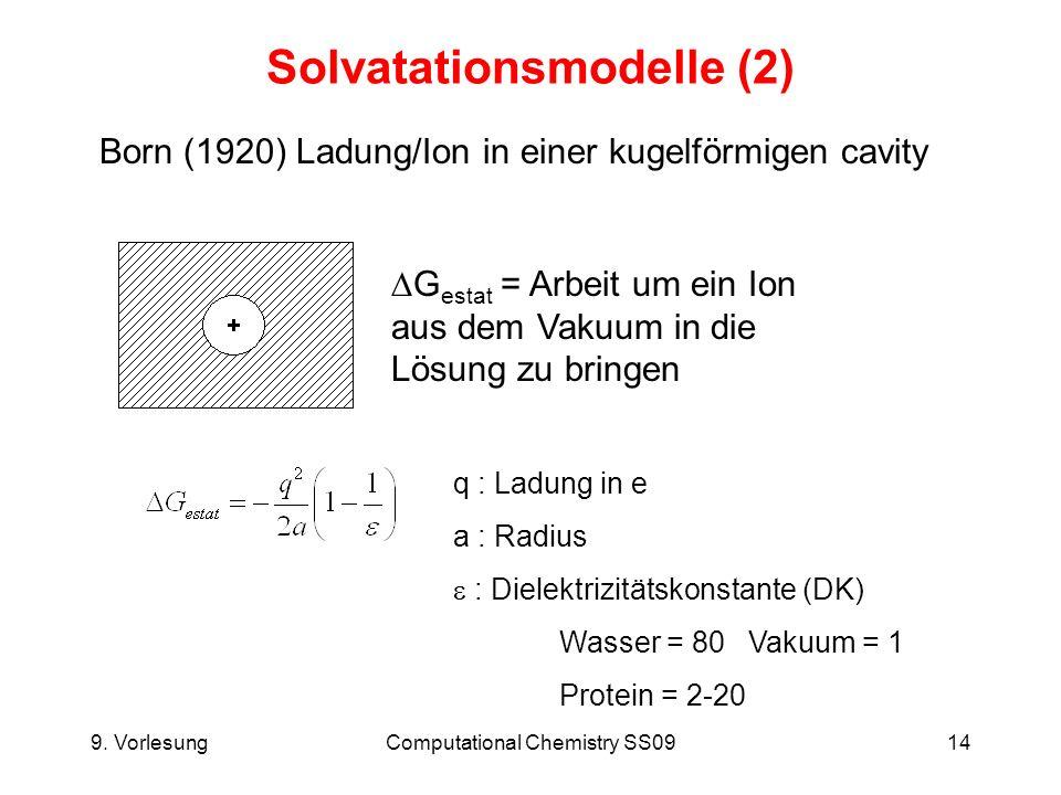 9. VorlesungComputational Chemistry SS0914 Solvatationsmodelle (2) Born (1920) Ladung/Ion in einer kugelförmigen cavity G estat = Arbeit um ein Ion au