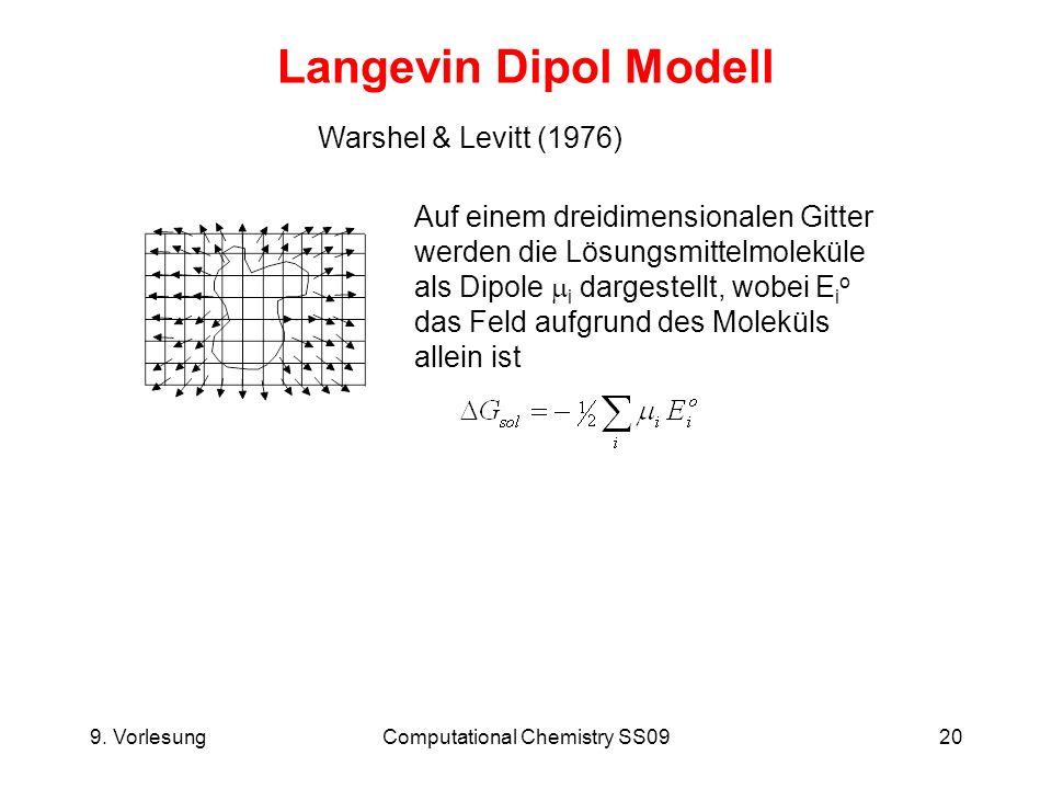 9. VorlesungComputational Chemistry SS0920 Langevin Dipol Modell Warshel & Levitt (1976) Auf einem dreidimensionalen Gitter werden die Lösungsmittelmo
