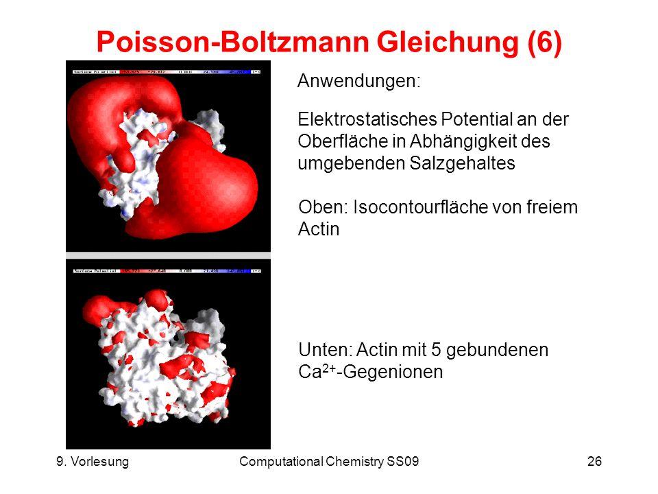 9. VorlesungComputational Chemistry SS0926 Poisson-Boltzmann Gleichung (6) Anwendungen: Elektrostatisches Potential an der Oberfläche in Abhängigkeit