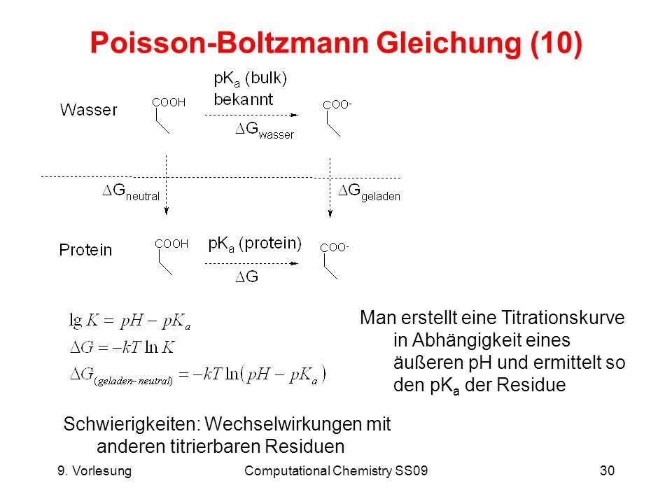 9. VorlesungComputational Chemistry SS0930 Poisson-Boltzmann Gleichung (10) Schwierigkeiten: Wechselwirkungen mit anderen titrierbaren Residuen Man er