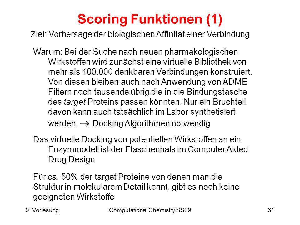 9. VorlesungComputational Chemistry SS0931 Scoring Funktionen (1) Ziel: Vorhersage der biologischen Affinität einer Verbindung Warum: Bei der Suche na