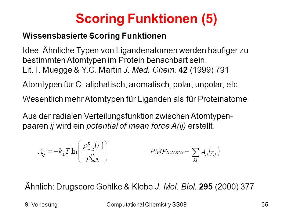 9. VorlesungComputational Chemistry SS0935 Scoring Funktionen (5) Wissensbasierte Scoring Funktionen Idee: Ähnliche Typen von Ligandenatomen werden hä